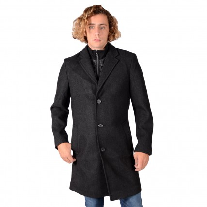 1020697 TOM TAILOR 1ST 009 ASYMMETRIC COAT ΑΝΔΡΙΚΟ ΠΑΛΤΟ ΑΝΘΡΑΚΙ