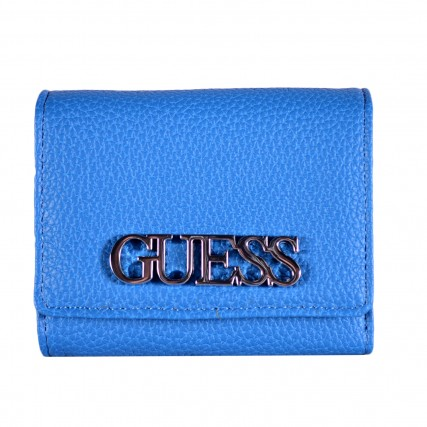 SWVY7301430-BLU GUESS UPTOWN CHIC SLG SMALL TRIFOLD ΓΥΝΑΙΚΕΙΟ ΠΟΡΤΟΦΟΛΙ ΜΠΛΕ