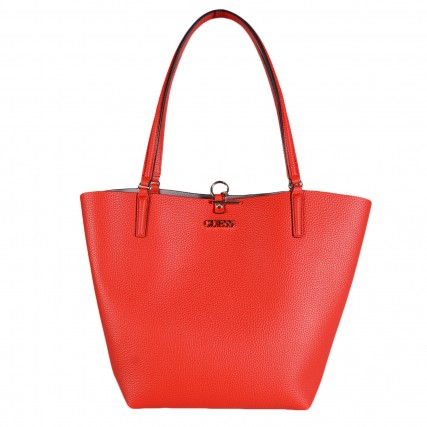 HWVG7455230-RED GUESS ALBY TOGGLE TOTE ΓΥΝΑΙΚΕΙΑ ΤΣΑΝΤΑ ΚΟΚΚΙΝΟ-ΛΙΛΑ