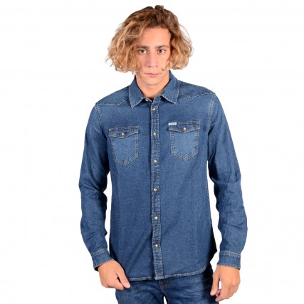 M0YH02D4351 GUESS TRUCKEE L/S SHIRT - ODDITY STR DENIM ΑΝΔΡΙΚΟ ΠΟΥΚΑΜΙΣΟ ΤΖΙΝ