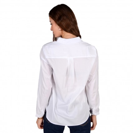 1021100 TOM TAILOR 2ND 008 BLOUSE WITH FRILL DETAIL ΓΥΝΑΙΚΕΙΟ ΠΟΥΚΑΜΙΣΟ ΛΕΥΚΟ