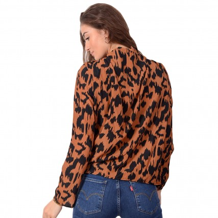 RUT-20-03-73-RUSTY BROWN PRINT RUT&CIRCLE INEZ BLOUSE ΓΥΝΑΙΚΕΙΑ ΜΠΛΟΥΖΑ ΚΑΦΕ