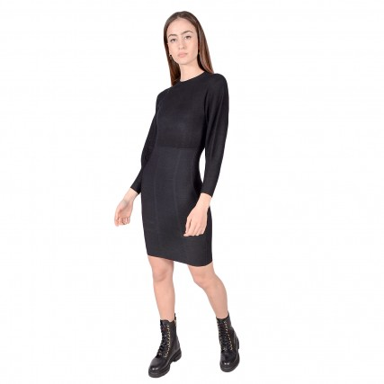 W0BK0UZ26I0 GUESS DAISY DRESS SWEATER - NEEDLE SINTH YA83040 ΓΥΝΑΙΚΕΙΟ ΦΟΡΕΜΑ ΜΑΥΡΟ
