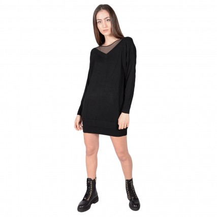 W0BK1NZ2G40 GUESS CRYSTAL DRESS SWEATE - FINE WOOL W/DETAILS ΓΥΝΑΙΚΕΙΟ ΦΟΡΕΜΑ ΜΑΥΡΟ
