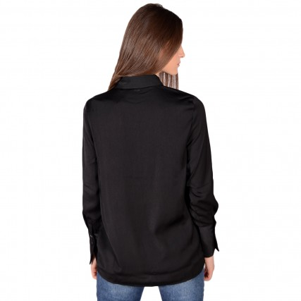 W0BH05W3TO2 GUESS LS VIVIAN SHIRT - RECYCLED SUEDED POLY ΓΥΝΑΙΚΕΙΟ ΠΟΥΚΑΜΙΣΟ ΜΑΥΡΟ