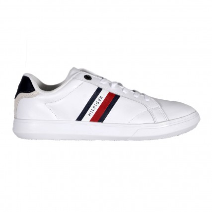 FM0FM02987-YBR TOMMY HILFIGER ESSENTIAL LEATHER CUPSOLE ΑΝΔΡΙΚΟ ΠΑΠΟΥΤΣΙ ΛΕΥΚΟ