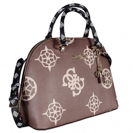 HWSG7752070 GUESS SOUTH BAY LARGE DOME SATCHEL ΓΥΝΑΙΚΕΙΑ ΤΣΑΝΤΑ ΜΠΕΖ-ΚΑΦΕ
