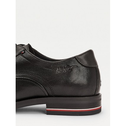 FM0FM03115-BDS TOMMY HILFIGER SIGNATURE HILFIGER LEATHER SHOE ΑΝΔΡΙΚΟ ΠΑΠΟΥΤΣΙ ΜΑΥΡΟ