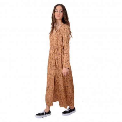 RUT-20-03-78-DARK BEIGE DOT RUT&CIRCLE BEA LONG DRESS ΓΥΝΑΙΚΕΙΟ ΦΟΡΕΜΑ ΜΠΕΖ