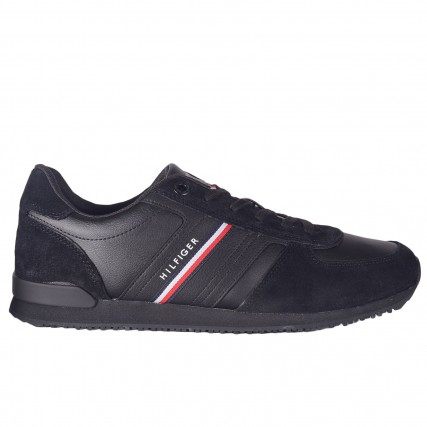 FM0FM03743-BDS TOMMY HILFIGER ICONIC RUNNER LEATHER MIX ΑΝΔΡΙΚΑ SNEAKERS ΜΑΥΡΑ