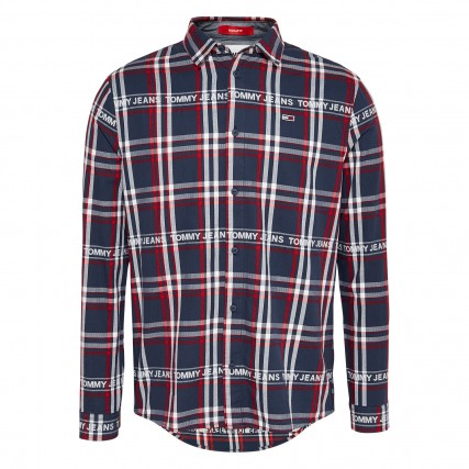 DM0DM08772-C87 TOMMY HILFIGER TJM BRANDED FLANNEL SHIRT ΑΝΔΡΙΚΟ ΠΟΥΚΑΜΙΣΟ ΜΠΛΕ