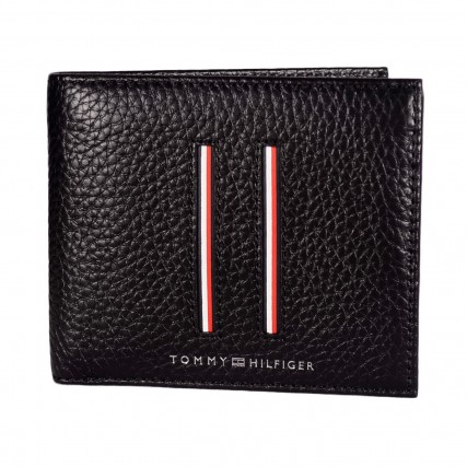 AM0AM07632-BDS TOMMY HILFIGER TH DOWNTOWN CC AND COIN ΑΝΔΡΙΚΟ ΠΟΡΤΟΦΟΛΙ ΜΑΥΡΟ