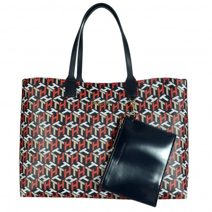 AW0AW10273-0GY TOMMY HILFIGER ICONIC TOMMY TOTE CORP MONO ΓΥΝΑΙΚΕΙΑ ΤΣΑΝΤΑ ΜΠΛΕ ΚΟΚΚΙΝΟ