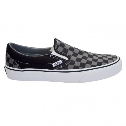 VN000EYEBPJ1 VANS UA Classic Slip-On Black/Pewter Checkerboard SNEAKER ΜΑΥΡΟ-ΓΚΡΙ