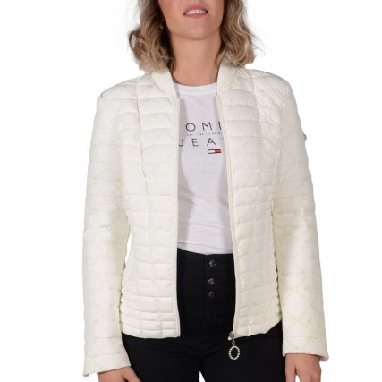 W0YL81WCOG0-P00W GUESS VERA JACKET - RECYCLED STRETCH OUTERWEAR ΓΥΝΑΙΚΕΙΟ ΜΠΟΥΦΑΝ ΛΕΥΚΟ