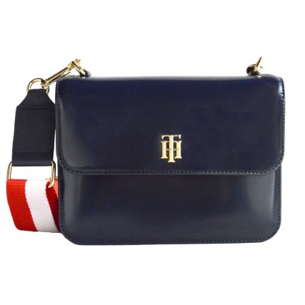 AW0AW09695-DW5 TOMMY HILFIGER TH STAPLE CROSSOVER ΓΥΝΑΙΚΕΙΑ ΤΣΑΝΤΑ ΜΠΛΕ