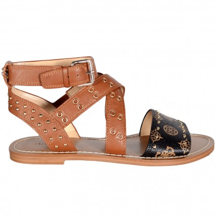 FL6CVELEA03-COGNA CEVIE/SANDALO (SANDAL)/LEATHER GUESS ΣΑΝΔΑΛΙΑ ΚΑΦΕ