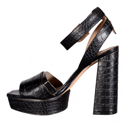 FL6RPPPEL03-BLACK GUESS RIPPA/SANDALO (SANDAL)/LEATHER ΓΥΝΑΙΚΕΙΑ ΠΕΔΙΛΑ ΜΑΥΡΑ