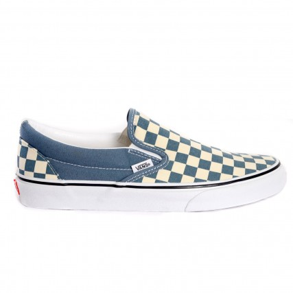 VN0A4U38WRU1 VANS UA Classic Slip-On (Checkerboard) blue white ΑΝΔΡΙΚΟ SNEAKER ΛΕΥΚΟ-ΜΠΛΕ