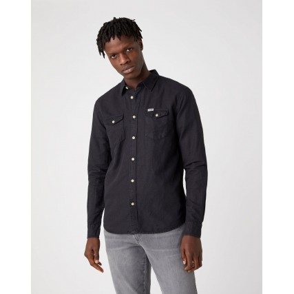 W5A5LOXV6 WRANGLER SLS 2 PKT FLAP SHIRT FADED BLACK ΑΝΔΡΙΚΟ ΠΟΥΚΑΜΙΣΟ ΜΑΥΡΟ
