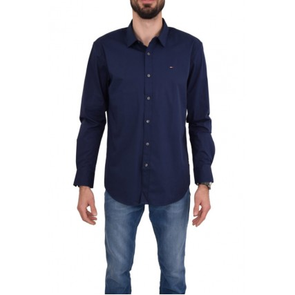 DM0DM04405-002 TOMMY HILFIGER TJM ORIGINAL STRETCH SHIRT ΑΝΔΡΙΚΟ ΠΟΥΚΑΜΙΣΟ ΜΠΛΕ